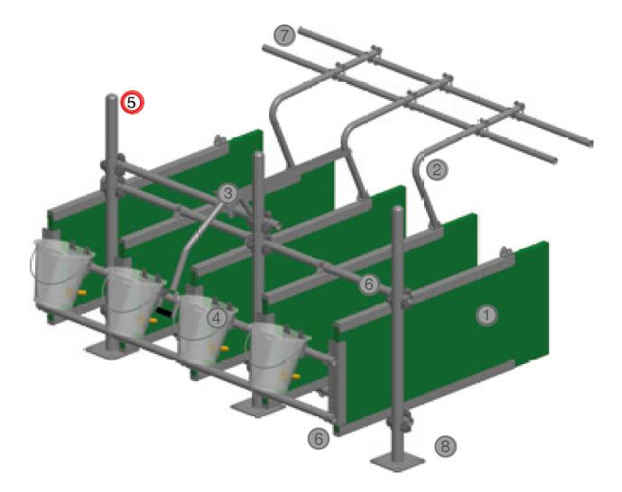 Nr. 5, Pfosten Ø 60 mm für Kälber Fress- und Tränkestand