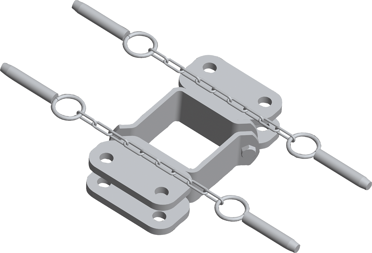 Schelle Quadrat 90 mm, 4 Halter, parallel