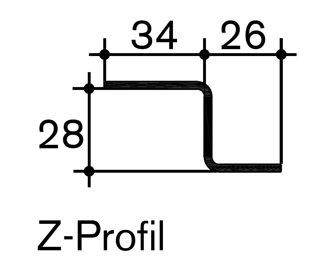 Z-Profil CNS als Abschlussleiste für Equimat