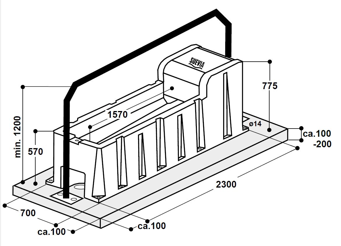 SUEVIA Thermo-Tränkewanne Mod. 6523, 150 Liter