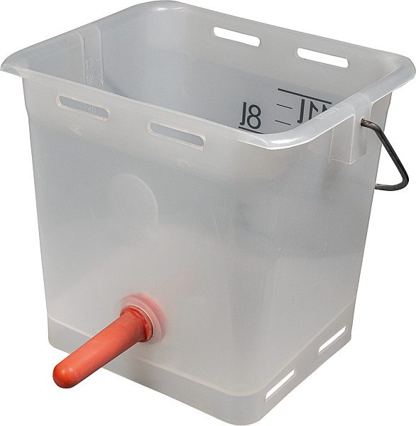 Nuckel-Tränkeeimer 13l mit Sauger hart und 1-Click-Ventil