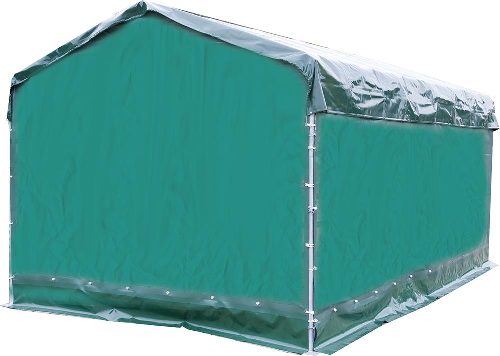 Panel-Dach: Wetterschutzplane für Giebelseite