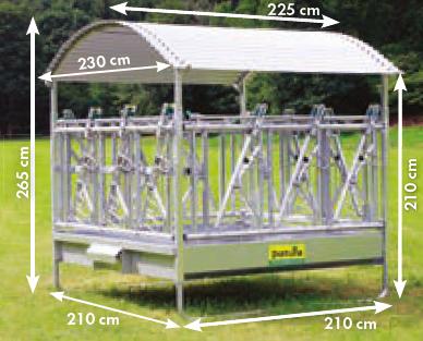 Profi-Viereckraufe mit Sicherheits- Fangfressgitter und Dach