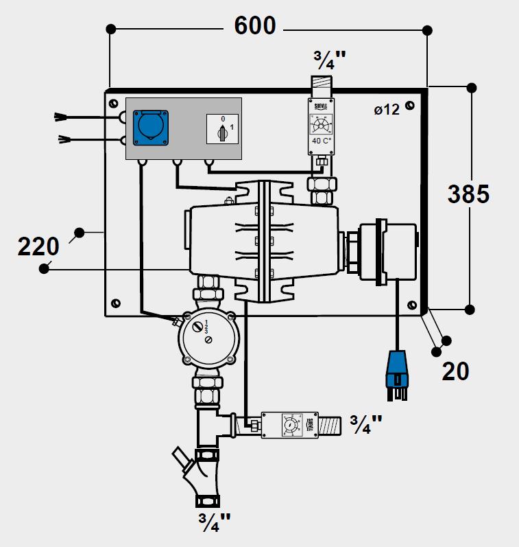 SUEVIA Umlaufheizsystem Mod. 317 mit Rücklauftemparatur-Steuerung 230 Volt, 3000 Watt Heizleistung