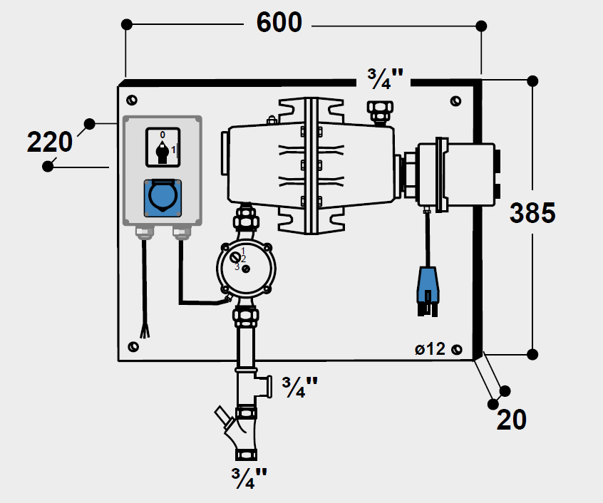 SUEVIA Umlaufheizsystem Mod. 300, 400 V 3000 W, Pumpe 100 W mit Thermostat und Umlaufpumpe